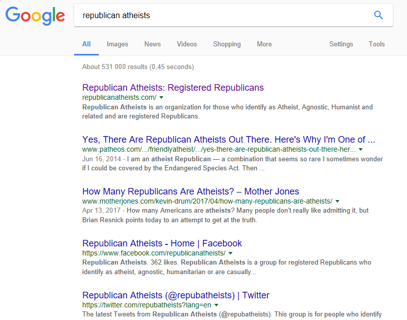 Republican Atheists google search