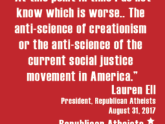 Republican Atheists social justice creationism quote image
