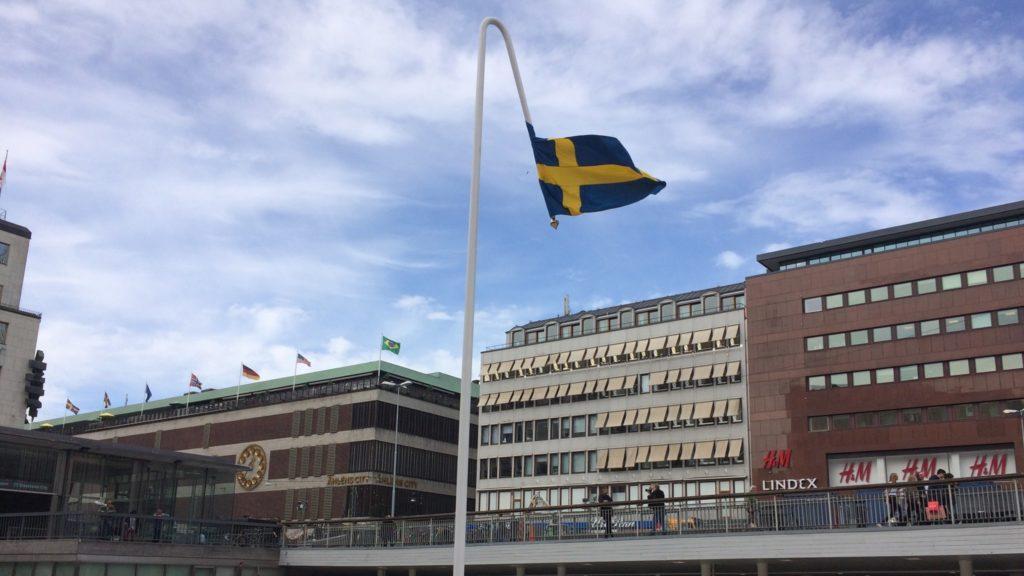 Swedish flag art display Stockholm Sweden